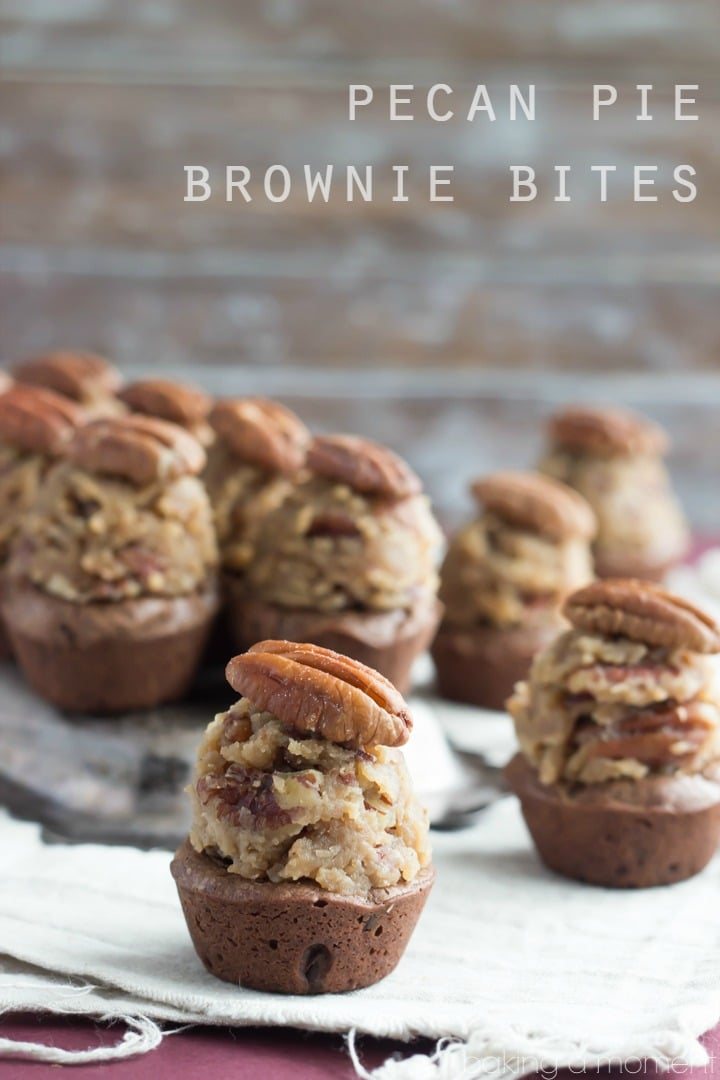 Pecan Pie Brownie Bites- A super-fudgy brownie topped with a bourbon pecan pie filling.  Perfect for a party!   #superbowl #dessert