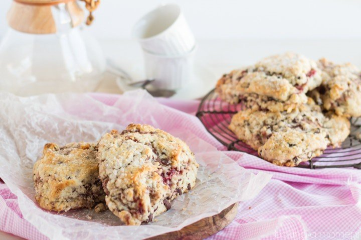 Moist and Tender Scones ribboned with Raspberry and studded with Dark Chocolate- It doesn't get any better than this!