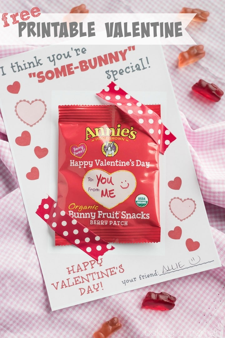 Cute Valentine's Printable for Bunny Snacks  :D