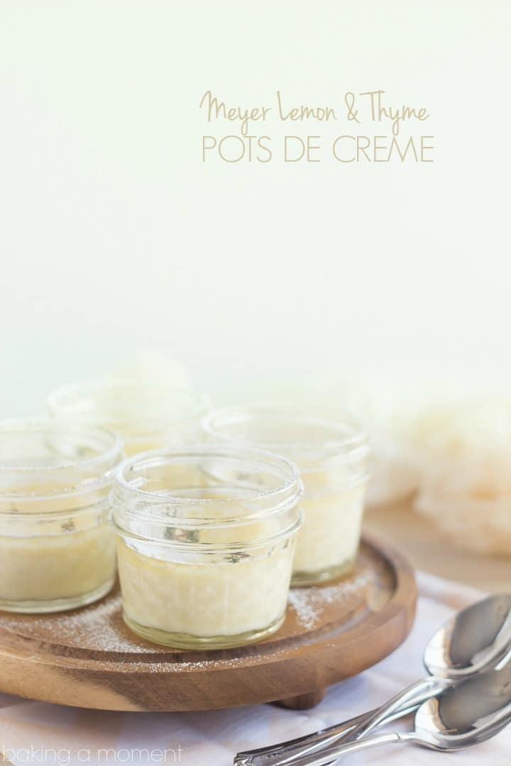 Delicate little Pots de Creme infused with Seasonal Meyer Lemon and Fresh Thyme, this dessert is like a whisper-light breath of Spring!  So good you won't believe they're Low-Carb and Gluten Free.