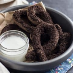 Cookies & Cream Baked Churros! Yes, it's a thing! They are so good and so easy to make. Grab some Oreos and whip up a batch!