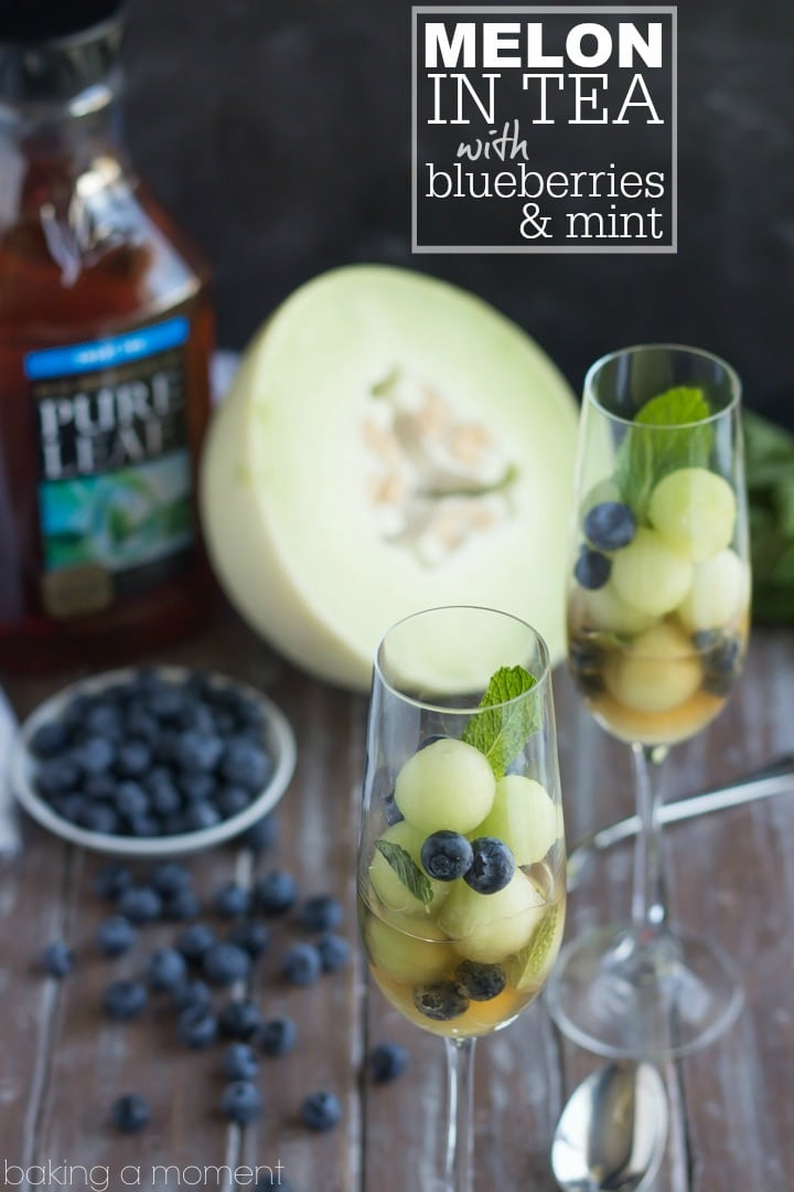 Simple as can be and so refreshing!  These melon balls in tea with blueberries and mint will definitely be making an appearance at our next brunch!  #puresummer #ad