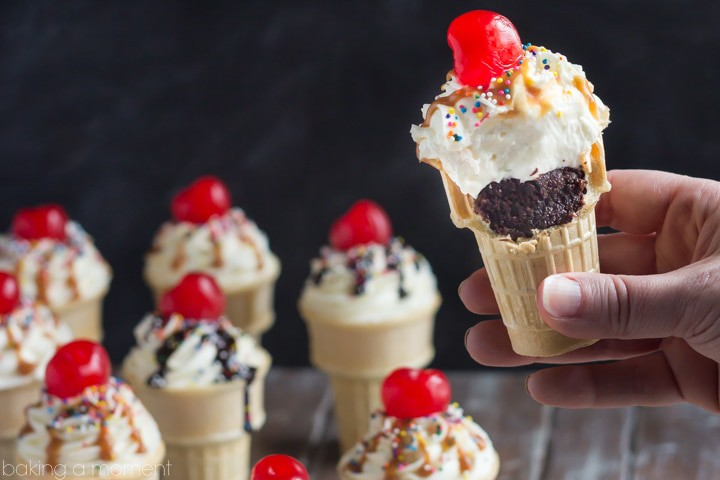 Brownie Sundae Ice Cream Cone Cupcakes- These were insanley good with the salted caramel sauce!