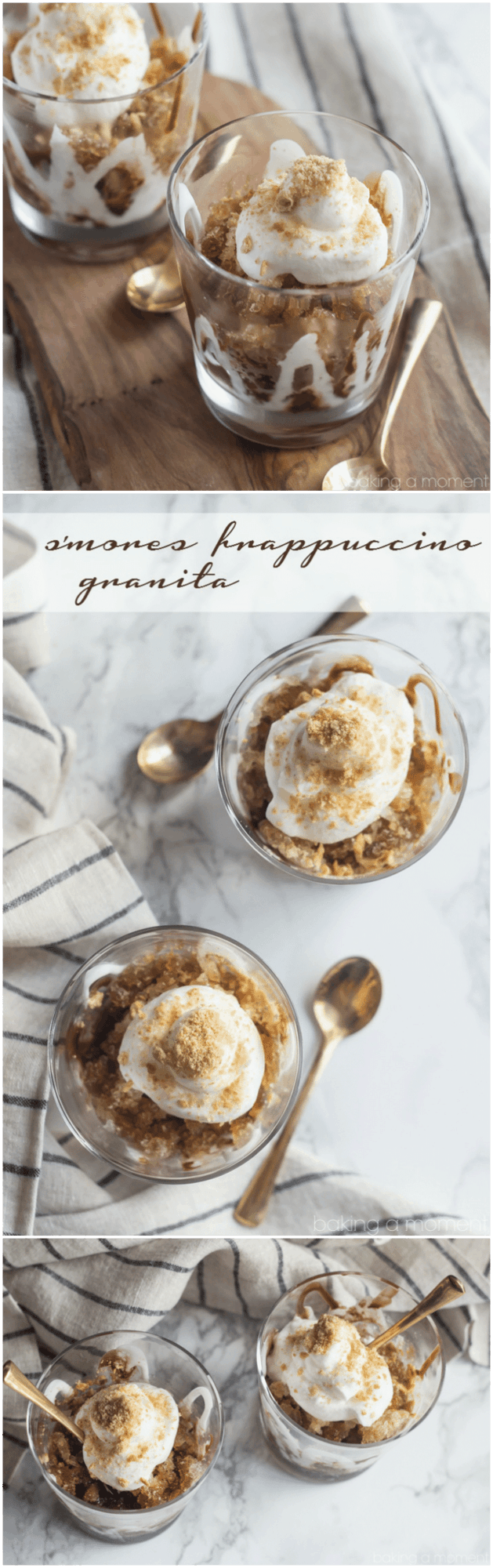 I loved that I could make coffee granita without having to scrape it every hour! This came together in minutes and it tasted just like a S'mores Frap only better. Such a refreshing summer pick-me-up!