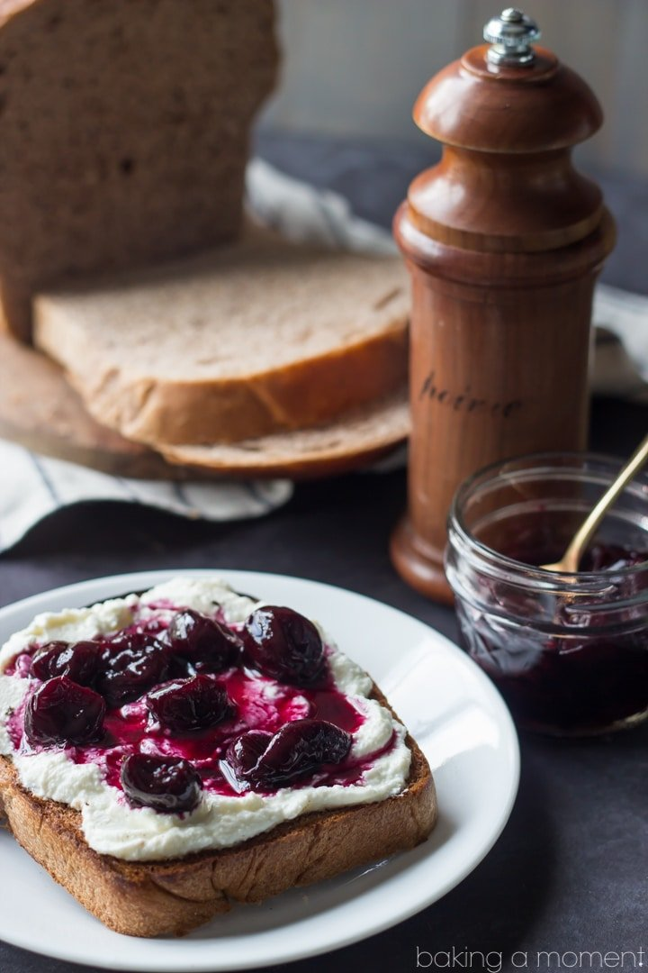 Homemade Red Grapeseed Wheat Bread with Ricotta, Cherries, and Black Pepper   Baking a Moment  #sponsored #whitelily
