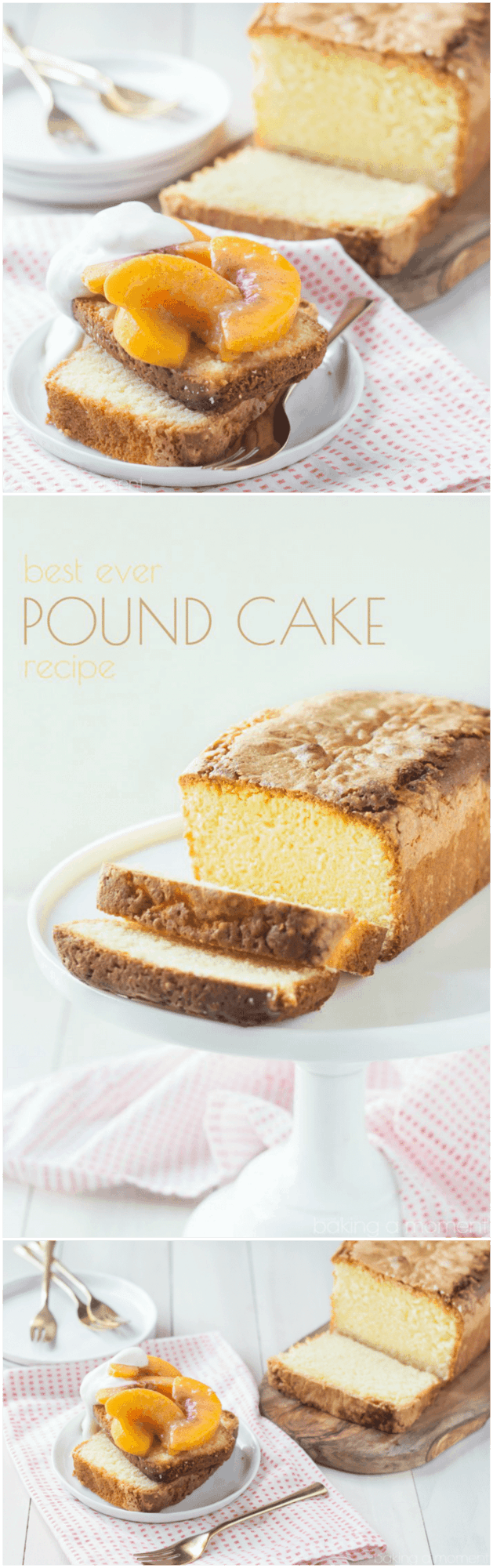 Best Pound Cake Recipe I've ever tried!  There's no chemical leaveners so all you taste is the butter and eggs.  Those gingered brown butter peaches take it totally over the top!