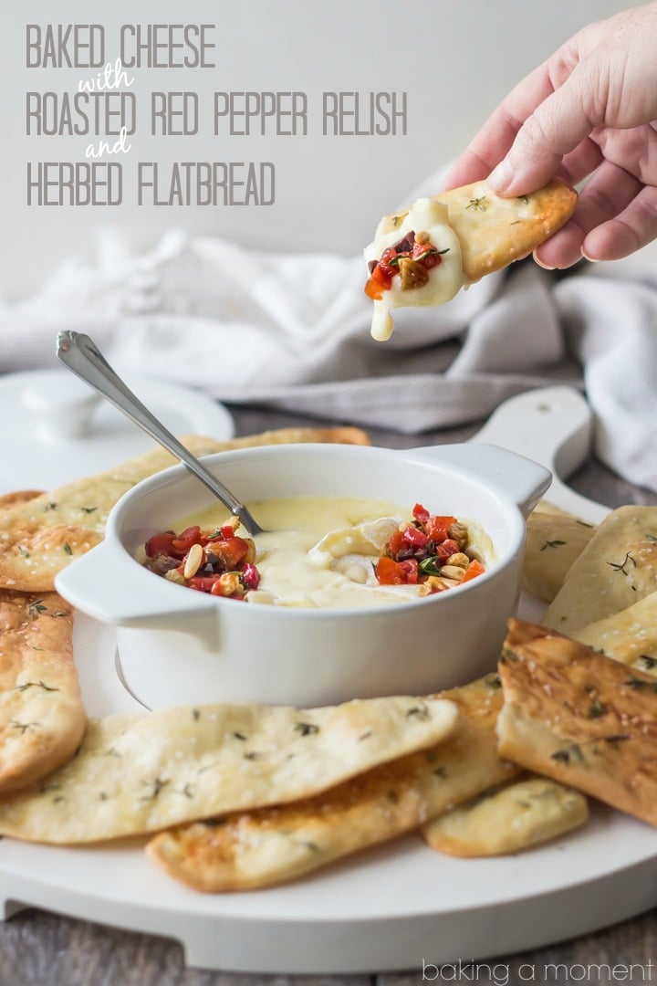 Serve this simple appetizer at your next get-together! The baked cheese is so creamy, and couldn't be easier to make, and the roasted red pepper relish has tons of smoky-sweet flavor! Scoop it all up with crunchy homemade herbed flatbreads. @marthastewart @macys #marthastewartcollection #mscollection