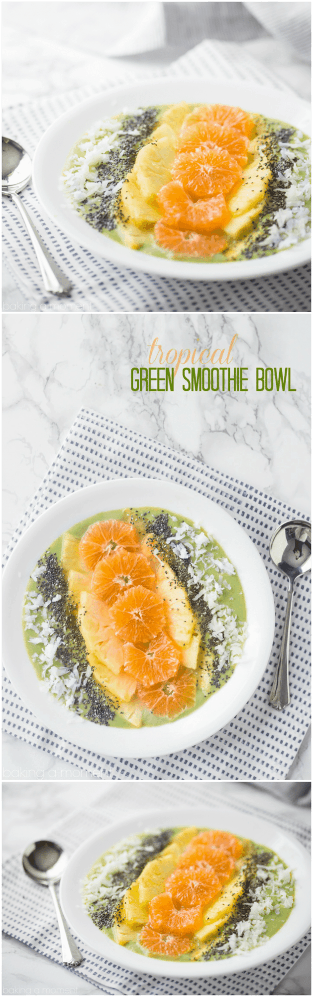 Like a ray of sunshine! This tropical green smoothie bowl is a great start to the day.