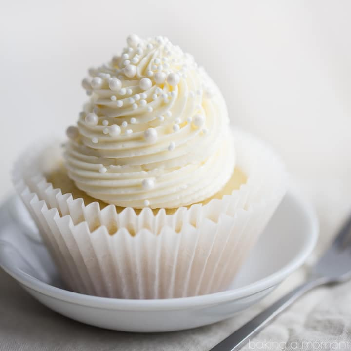 Simply perfect white cupcakes with a moist texture and a hint of almond.