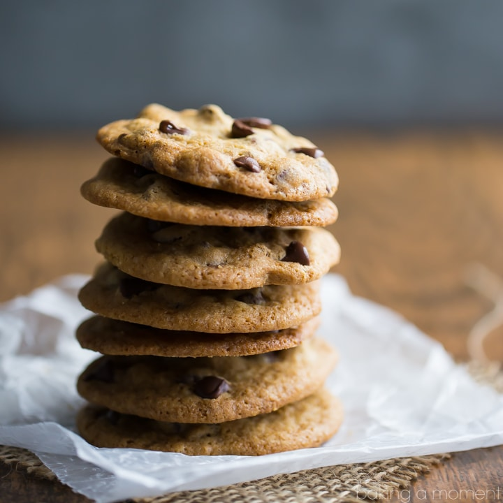 My husband loves these cookies! Just like Tate's- super thin and crisp, with a buttery flavor and pockets of melty chocolate running all throughout.