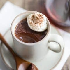 Chocolate Red Wine Pot de Creme: a rich, dense, spoonable chocolate dessert with a hint of complexity from lush red wine.