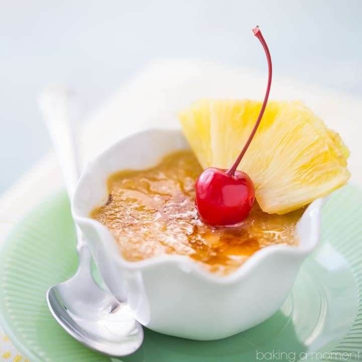Brown sugar and pineapple go beautifully together, and the flavors really come through in this creme brulee. Simple to make, and that crunchy caramelized sugar topping contrasts with the smooth, creamy custard in the most incredible way! food desserts pineapple