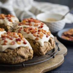 Cinnamon Peanut Butter Chip Scones with Maple Bacon Glaze- sounds crazy but these were insanely good!