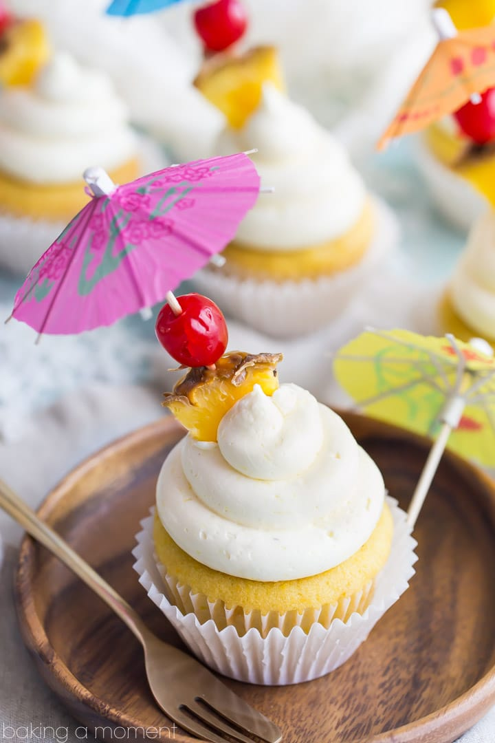 Pina Colada Cupcakes- just like my favorite tropical cocktail! The pineapple and coconut flavors really shine in this recipe :)