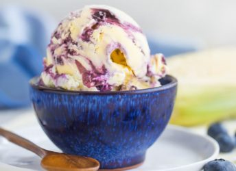 Sweet Corn Ice Cream with Blueberry Swirl- so seasonal and summery!