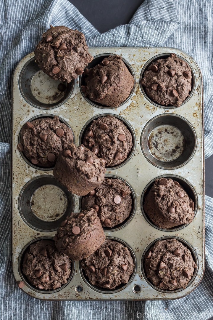 Double Chocolate Zucchini Muffins- loved how tall, fluffy, and moist these baked up!