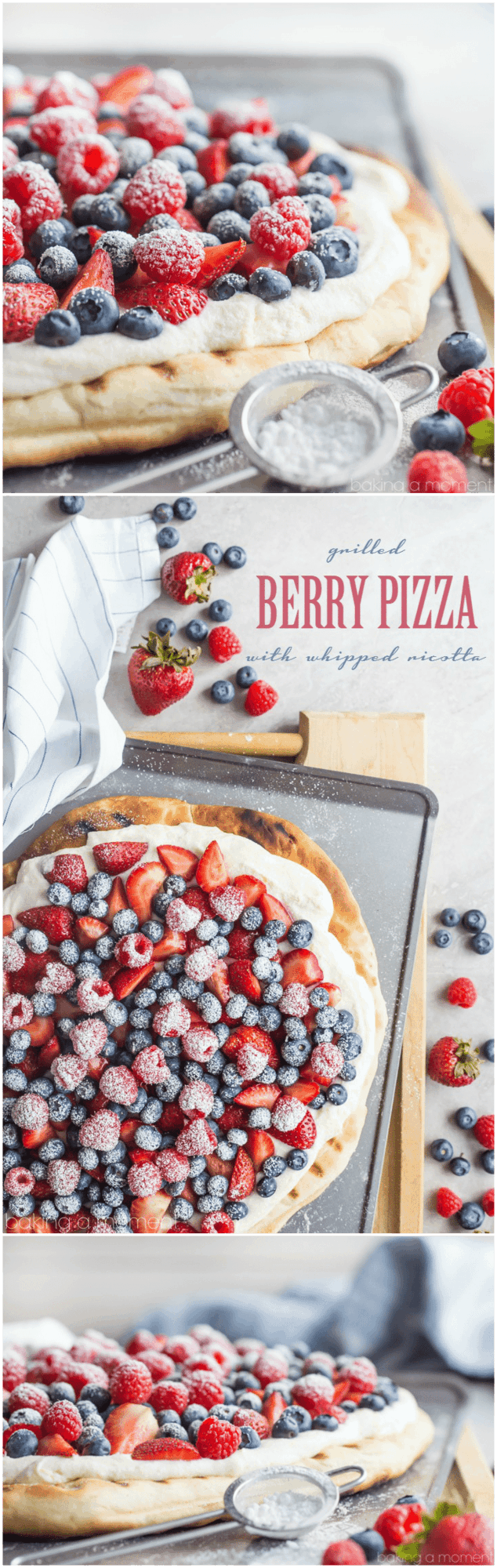 Such a great summer snack or dessert! This honey wheat pizza whips up in a snap with no rise time, and the lightly sweet and fluffy whipped ricotta is so good with fresh berries!