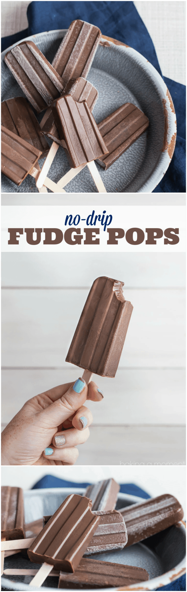 No-Drip Homemade Fudge Pops/Fudgesicles! My kids love these and I don't worry about giving them to them because they're so much less messy to eat than the regular kind.