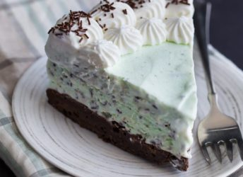 Mint Chocolate Chip Brownie Ice Cream Cake- a generous layer of homemade no-churn mint chocolate chip ice cream over a chewy brownie crust. Swoon!