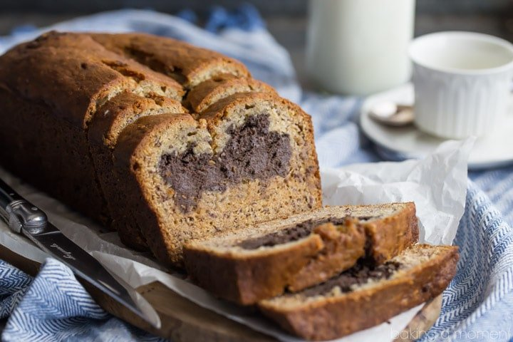 Chocolate Peanut Butter Cheesecake Stuffed Banana Bread- the BEST banana bread I've ever had, and that filling is to-die-for!