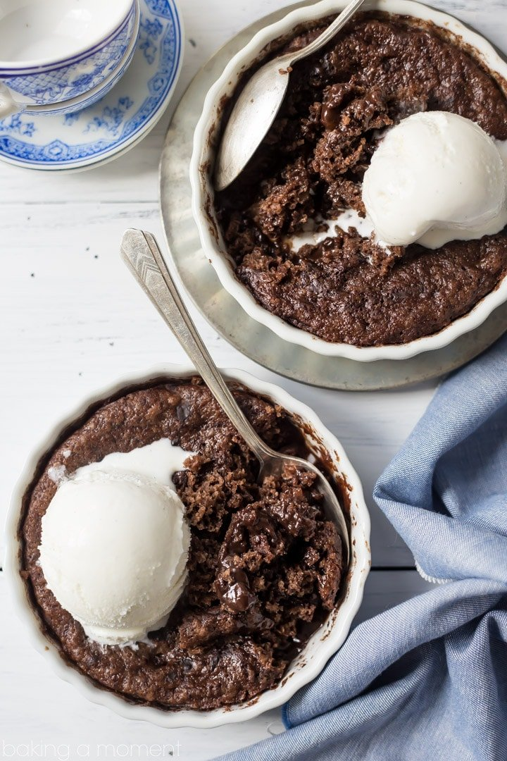 Brownie Pudding Cake- ooey-gooey and sweet, so chocolate-y, with crunchy walnuts in every bite! This is comfort food at its best.