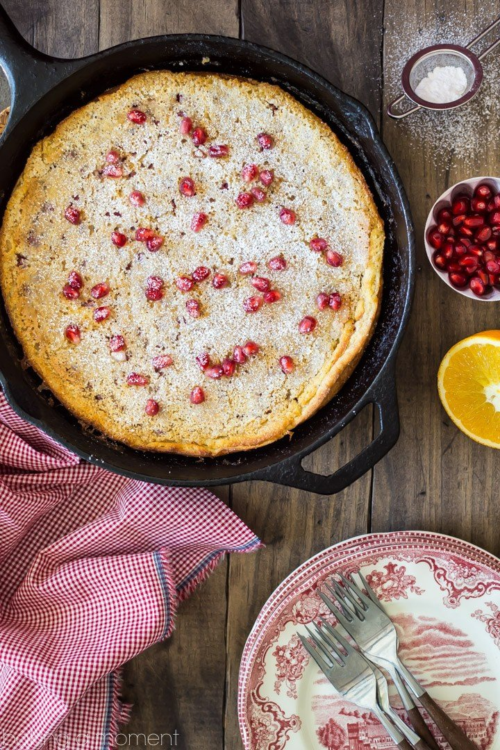Pomegranate Orange Puffy Pancake: a perfect breakfast for a wintry weekend! #riseandshine food breakfast pancakes