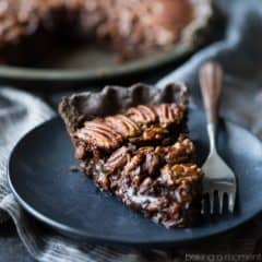 Double chocolate pecan pie: take your pecan pie to the next level, with a chocolate crust and sweet, sticky chocolate pecan filling. Your guests will swoon!
