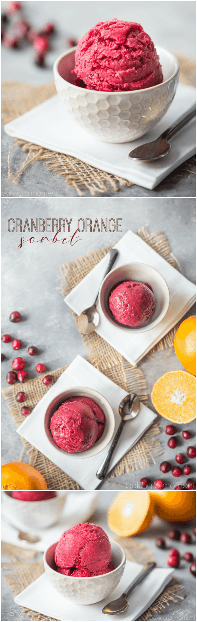 Cranberry orange sorbet: a light and refreshing dessert for fall and winter. Make this seasonal frozen dessert this holiday! food desserts holiday