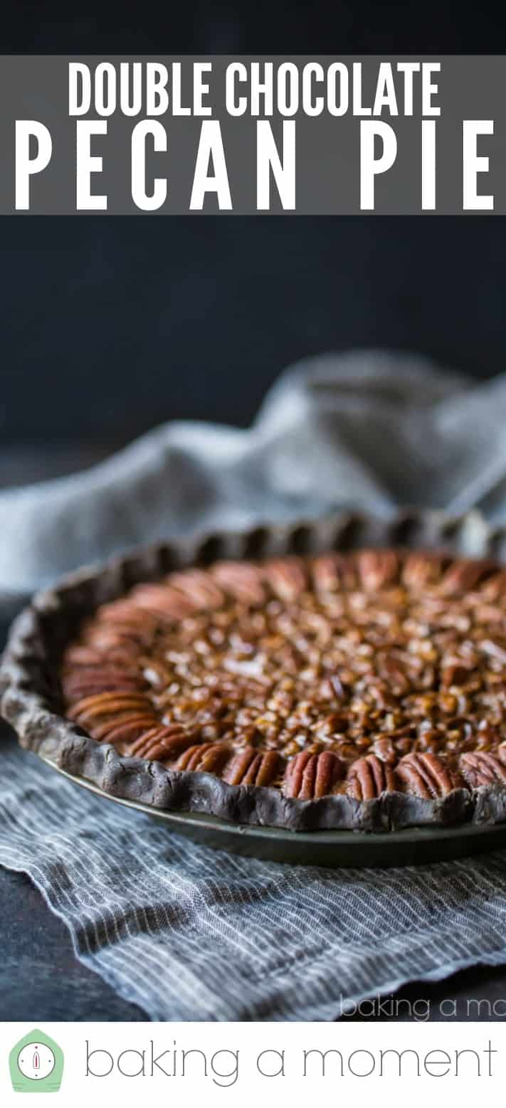 "Double chocolate pecan pie on a dark background with a text overlay above that reads ""Double Chocolate Pecan Pie."""