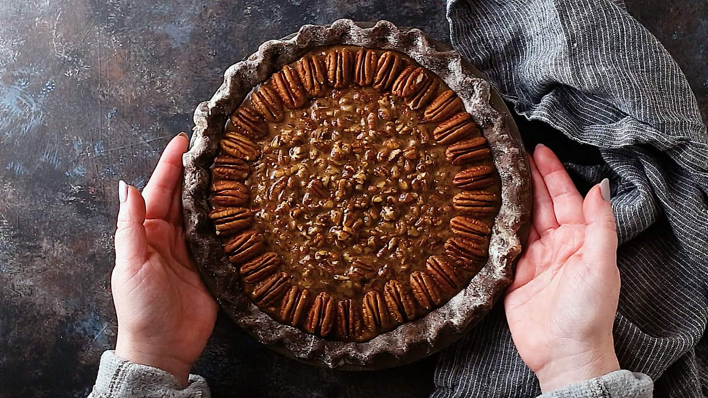 Unbaked chocolate pecan pie.