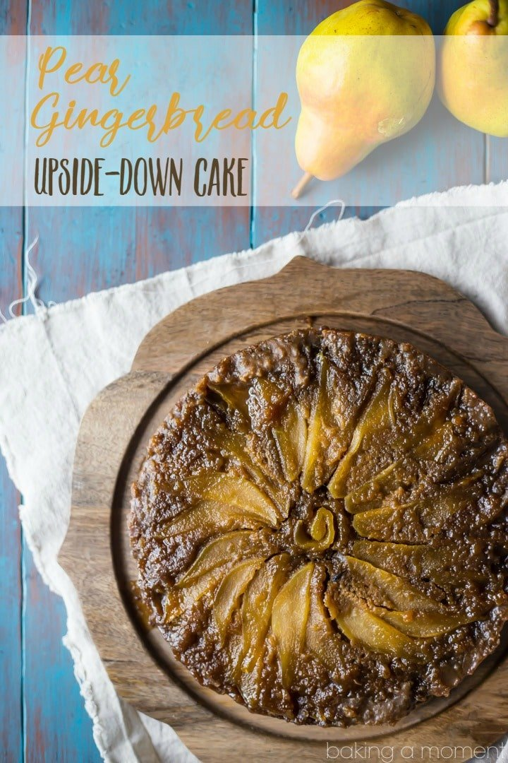 Pear Gingerbread Upside Down Cake- oh my! So many gorgeous flavors going on here. I really loved the way the sweet, brown-sugary pears balanced out the spiciness of the gingerbread. A winner of a winter dessert, for sure! food desserts cake #ad @southernliving