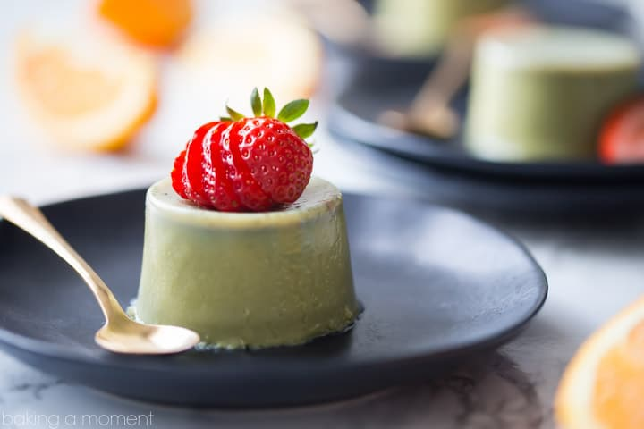 Cool, creamy, and full of earthy green tea flavor- this matcha panna cotta makes such a lovely light dessert! food desserts matcha