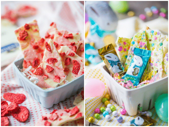 White Chocolate Bark 2 Ways: strawberries & cream or Easter funfetti!  Both are so tasty and cute!  food desserts chocolate #Ghirardelli #ad