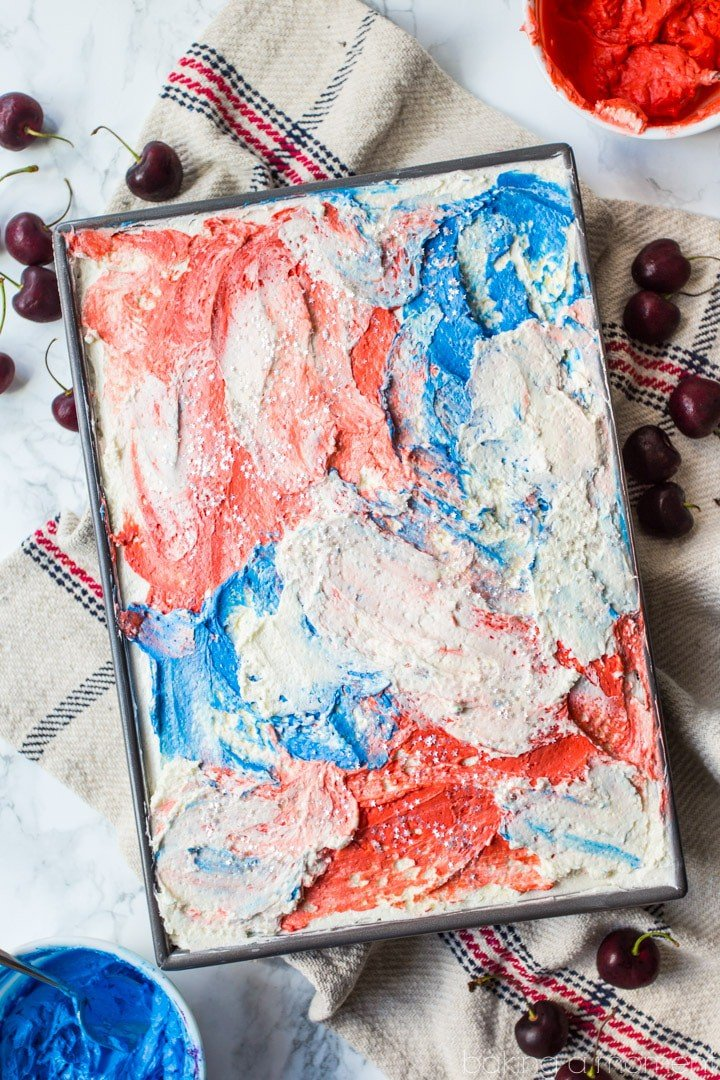 Cherry Vanilla Sheet Cake with Red, White, & Blue Swirl Frosting- perfect for Memorial Day or July 4th! Don't forget the edible star glitter! food desserts patriotic