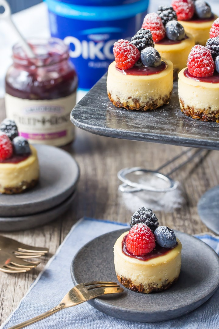 Triple Berry Honey Yogurt Breakfast Cheesecakes: these have a whole grain granola crust, and are sweetened with honey and made with Greek yogurt, so they're a perfect make-ahead, grab & go breakfast!  food breakfast yogurt #ad @smuckers