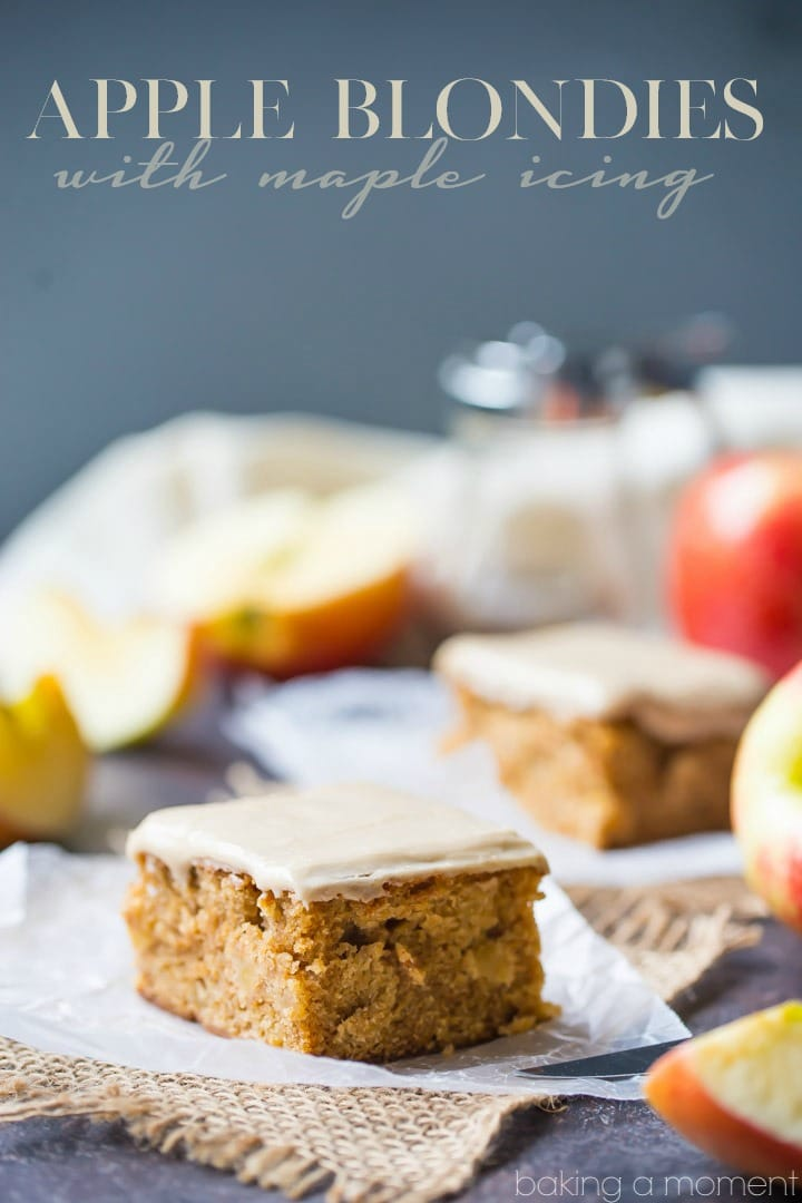 Soft, cake-y apple blondies with a little cinnamon and a sweet maple glaze on top. So nice for fall! food desserts apple