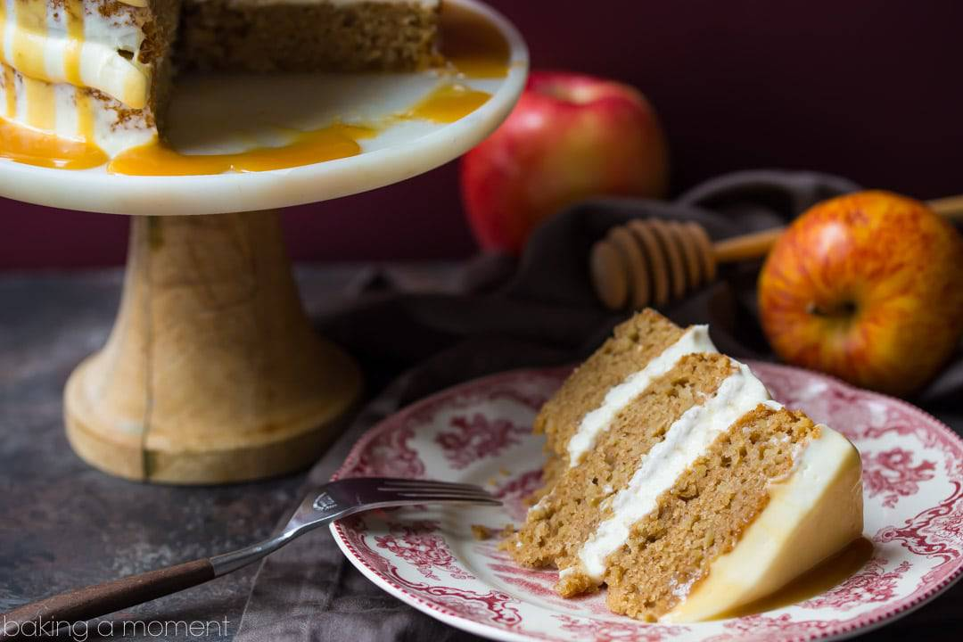 Apple Honey Cake: just a hint of cinnamon, a fluffy cream cheese frosting, and the most INCREDIBLE honey caramel drizzle!  food desserts apple