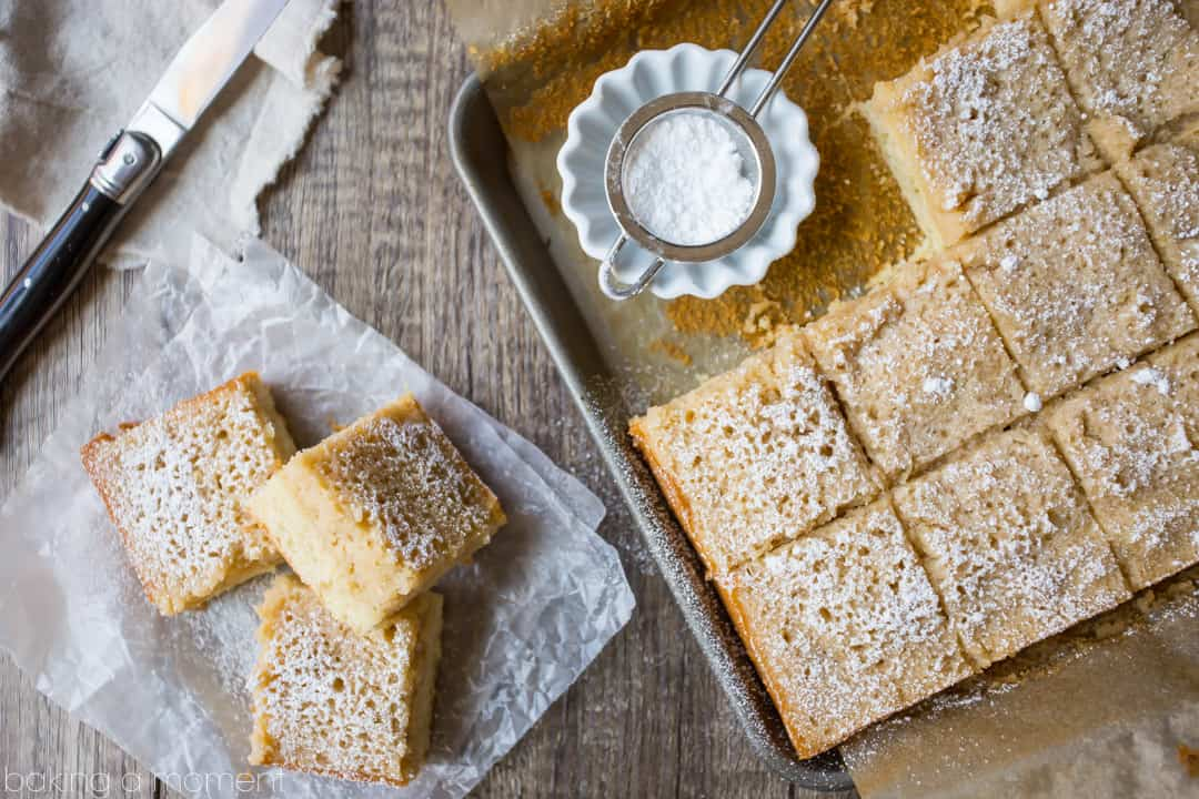 Maple Gooey Butter Cake: no cake mix required!  This tasted like a cake version of pancakes with butter & syrup.  food desserts cake
