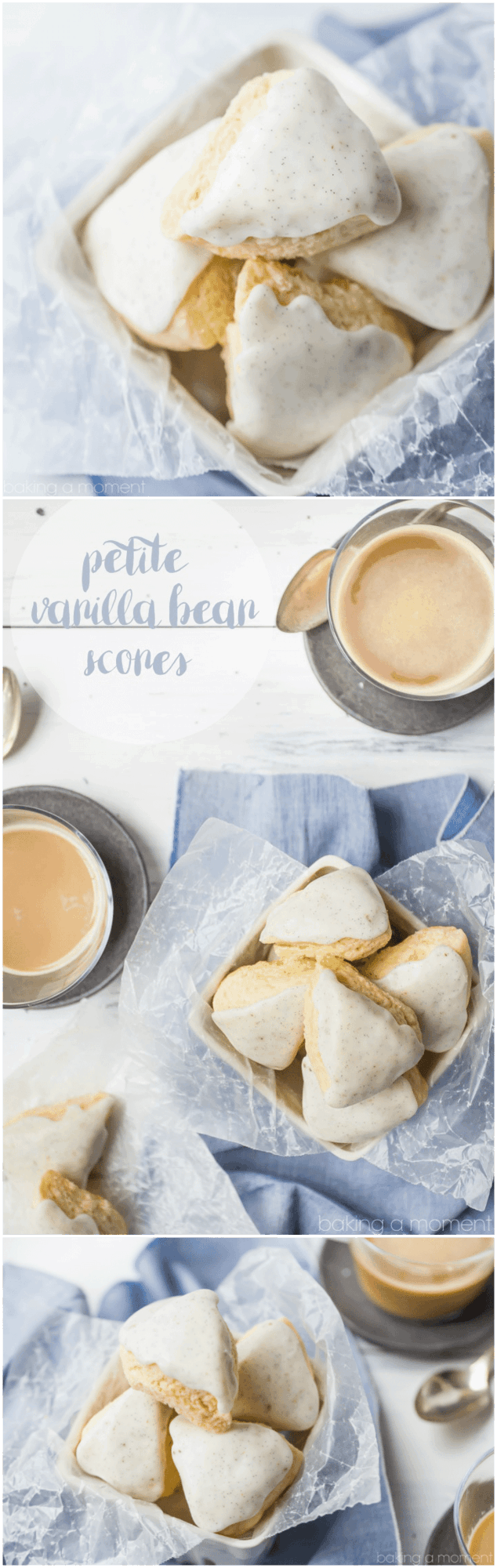 These homemade petite vanilla bean scones tasted even better than the Starbucks version! So simple to make and so good with a cup of coffee. food breakfast brunch