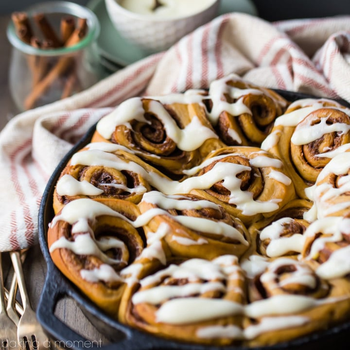 Gingerbread Cinnamon Rolls - Baking A Moment