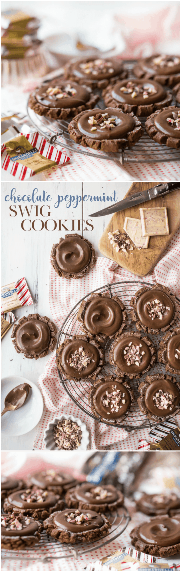 Chocolate Peppermint Swig Cookies: so chubby and soft, with tons of chocolate flavor, and a hint of cool peppermint. These stayed soft for days, and that sour cream frosting was outta this world! #food #desserts #cookies #chocolate #peppermint #christmas #sugarcookies #swigcookies #recipes