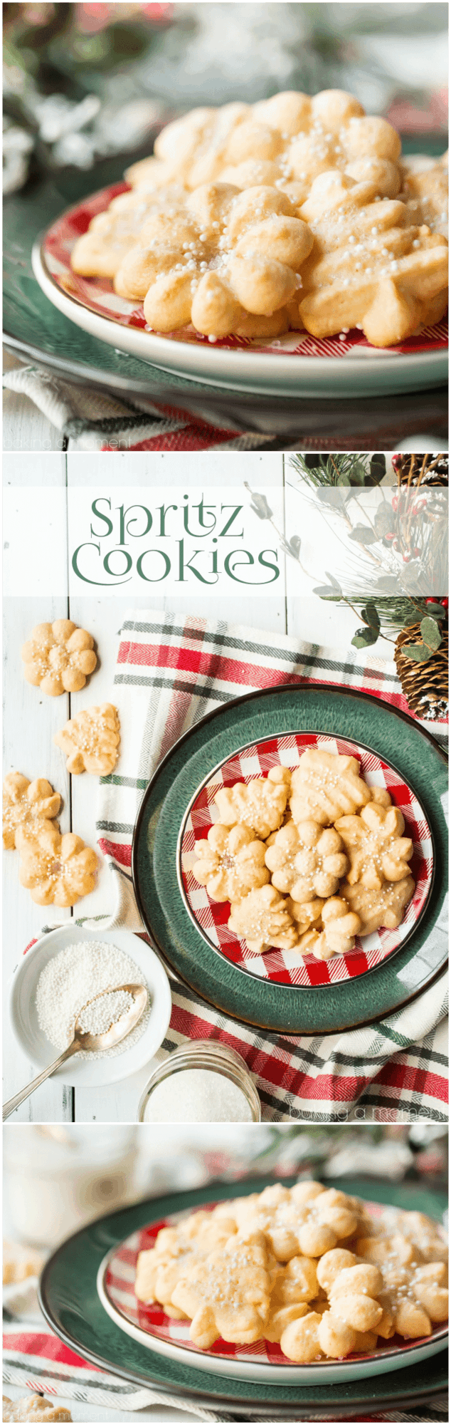 Spritz Cookies: light, crisp, and so buttery! This was the best recipe I've ever tried, they practically melted in my mouth! #food #desserts #cookies #spritzcookies #buttercookies #christmas #holiday #baking