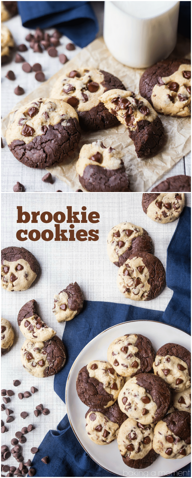 Brookie Cookies: the PERFECT solution for when you can't decide between a brownie and a chocolate chip cookie.  This recipe is the best of both worlds!  The brownie side is so dark chocolate-y, and the cookie side is so soft and gooey!  #brookies #brownies #cookie #chocolatechipcookies #chocolate #desserts #recipe #fromscratch #homemade