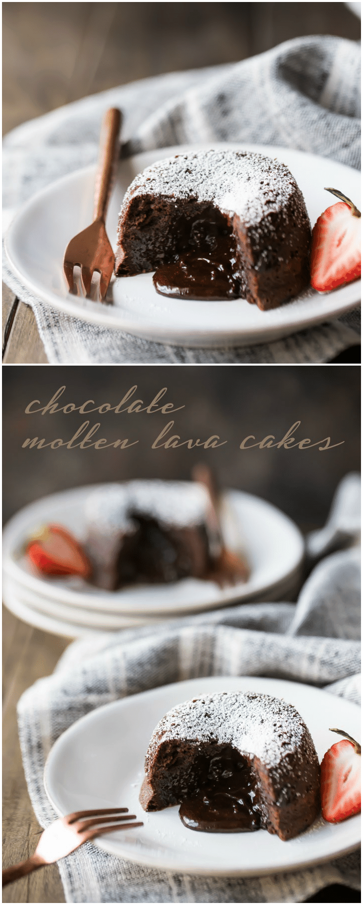 Chocolate Molten Lava Cakes: can you think of a more romantic dessert??  These are so sinfully chocolate-y, and SO simple to make!  #chocolate #lavacake #recipe #dessert #valentinesday #cake
