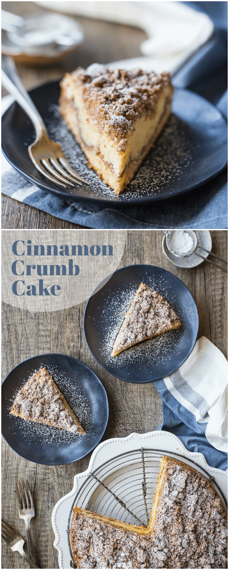 This cinnamon crumb cake was amazing!  The sour cream cake was so moist and there was TONS of crumbly cinnamon brown sugar streusel.  I served it with coffee and everyone raved!  #cinnamon #crumbcake #coffeecake #cake #desserts #sourcream #moist #baking