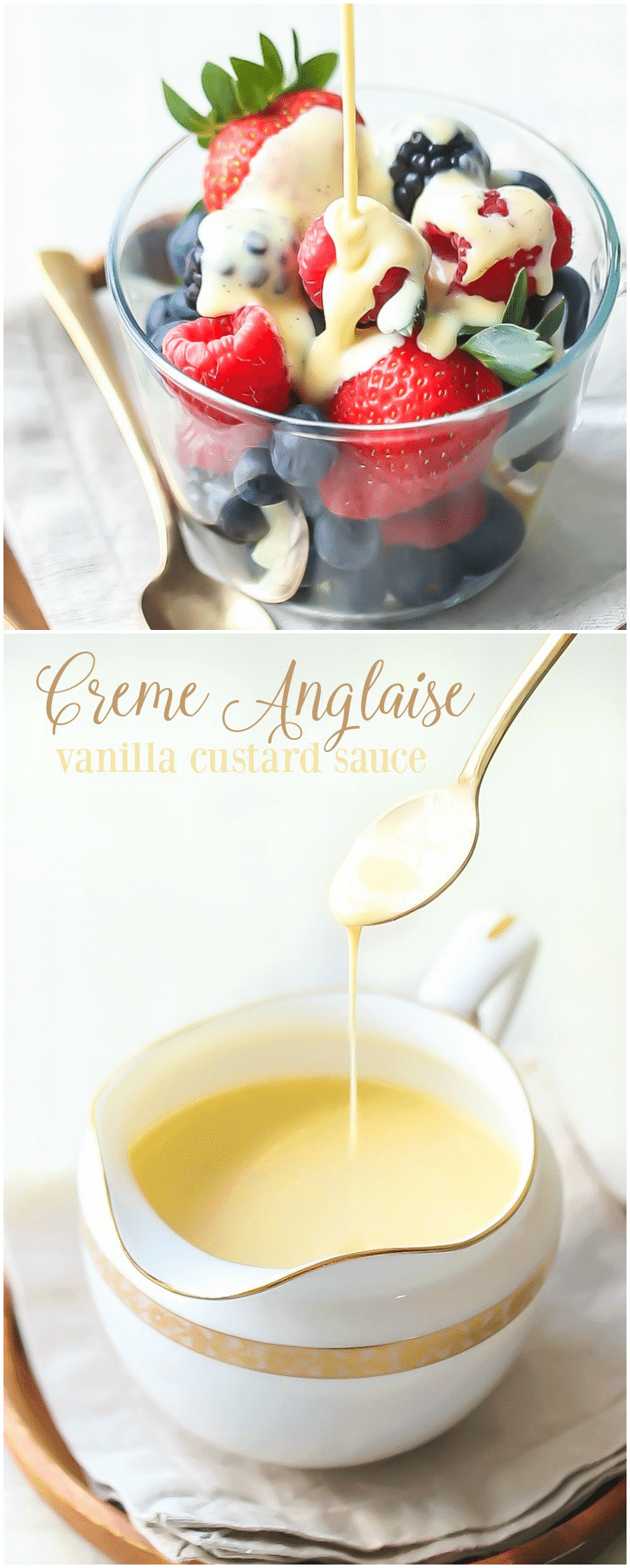 Creme Anglaise: this classic vanilla custard sauce will take any dessert to the next level!  It's like liquid creme brulee, so rich and creamy, and it's made from just 5 simple ingredients!  #cremeanglaise #desserts #sauce #vanilla #custard #recipes