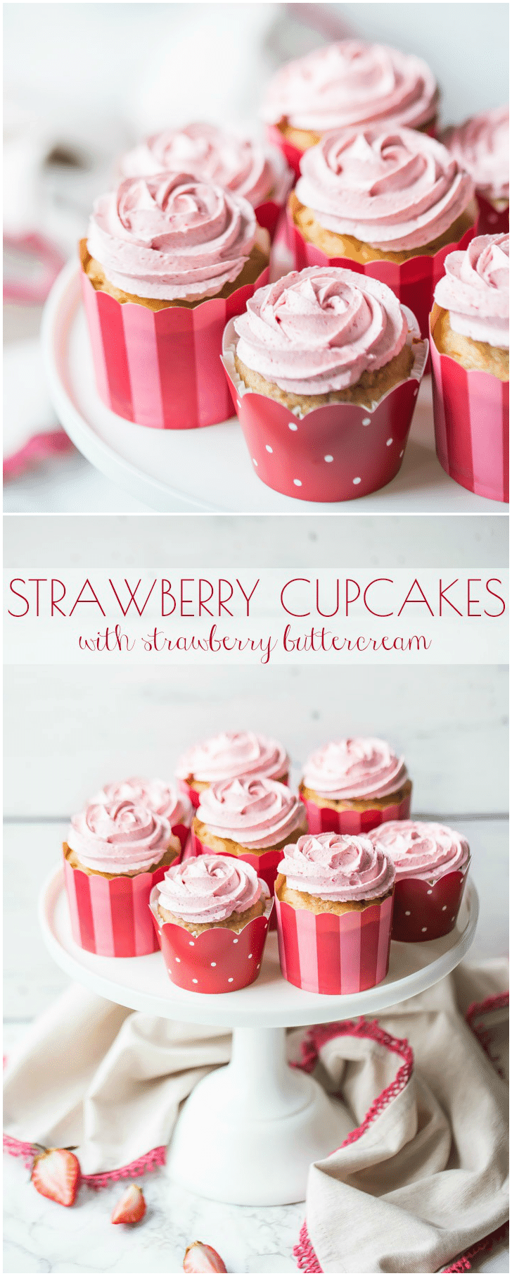 Strawberry Cupcakes with Strawberry Buttercream: these had SO MUCH incredible strawberry flavor, and they're all natural, nothing artificial, no jell-o required! #strawberry #cupcakes #buttercream #frosting #desserts #mothersday #valentinesday #birthday