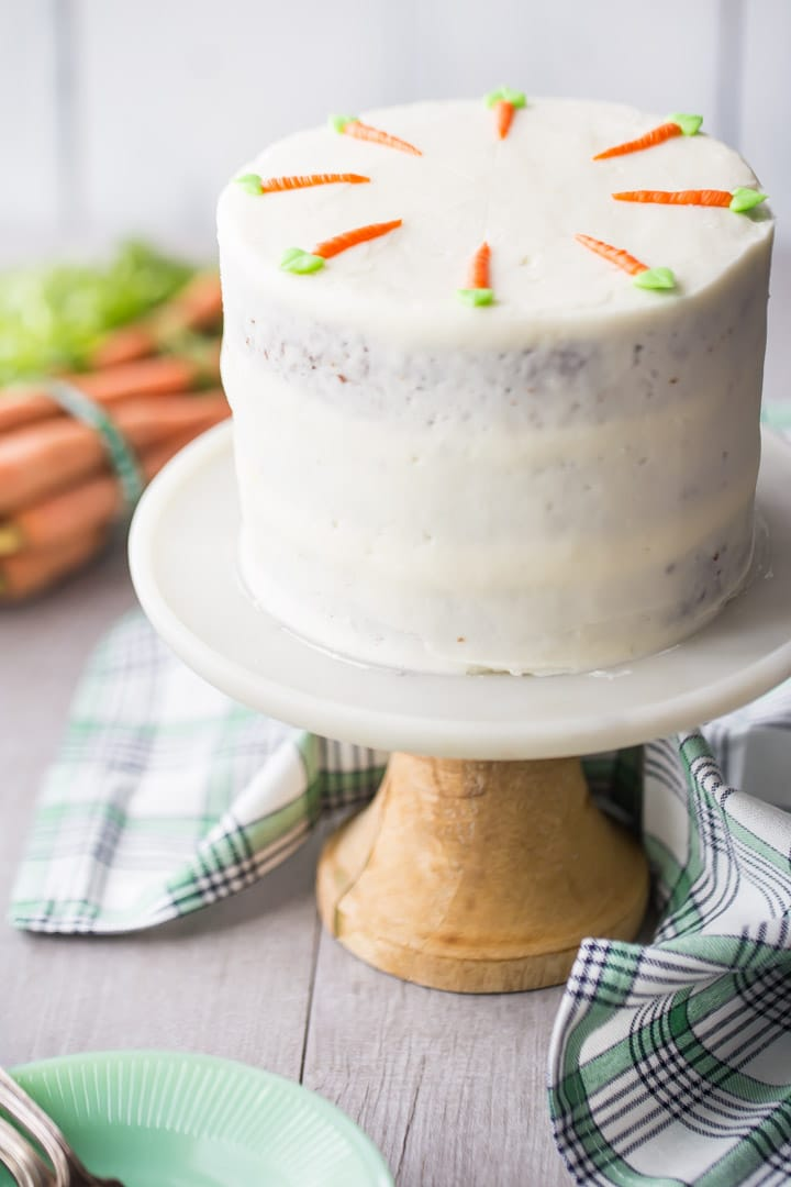 Triple Layer Semi Naked Style Carrot Cake With Cream Cheese Frosting On A