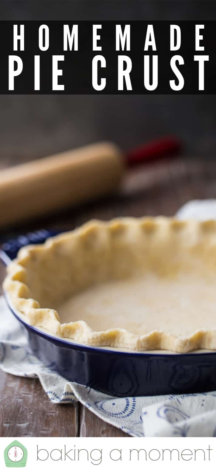 """Pie dough recipe prepared and placed in a blue pie dish, with a text overlay above that reads """"Homemade Pie Crust."""""""