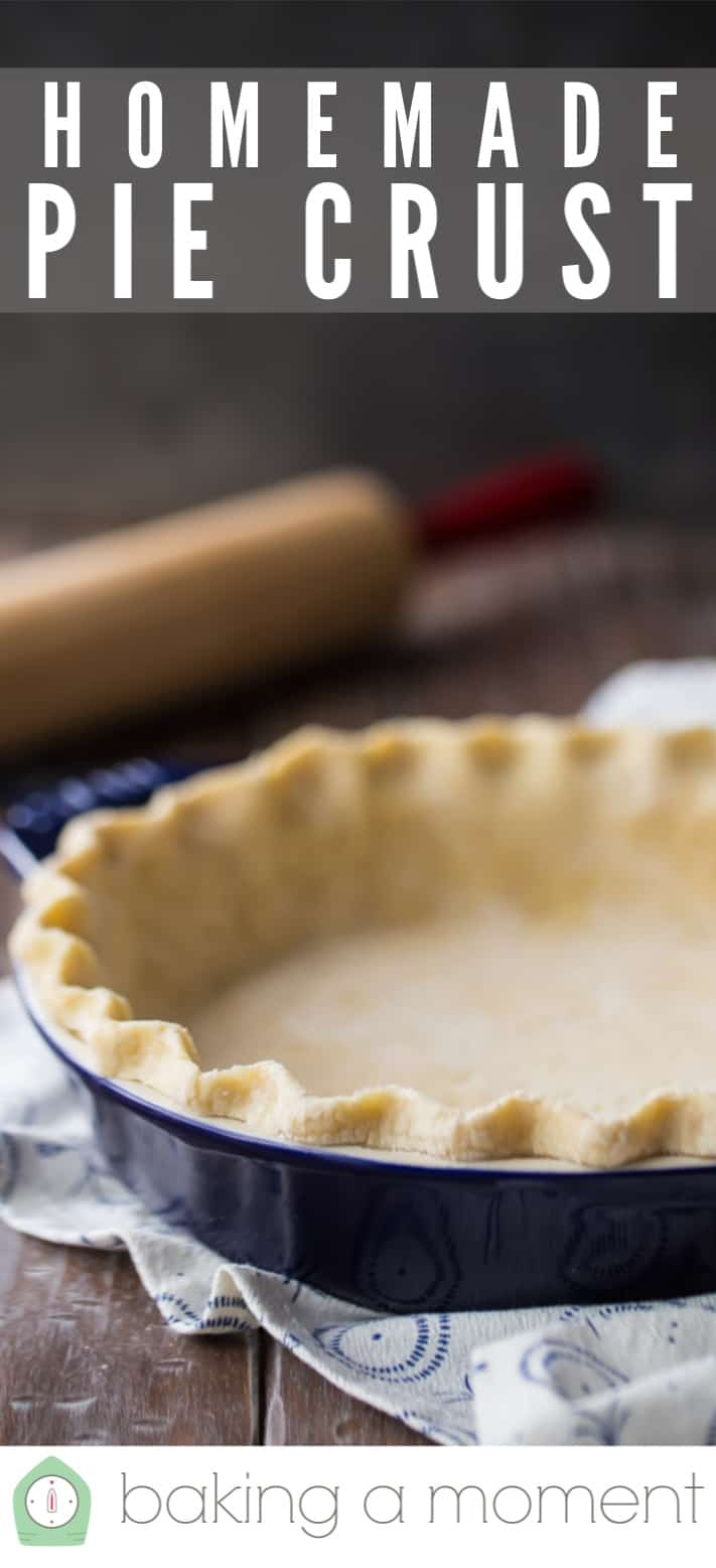 """Pie crust recipe, made, rolled out, placed in a dish, and crimped, with a text overlay above that reads """"Homemade Pie Crust."""""""